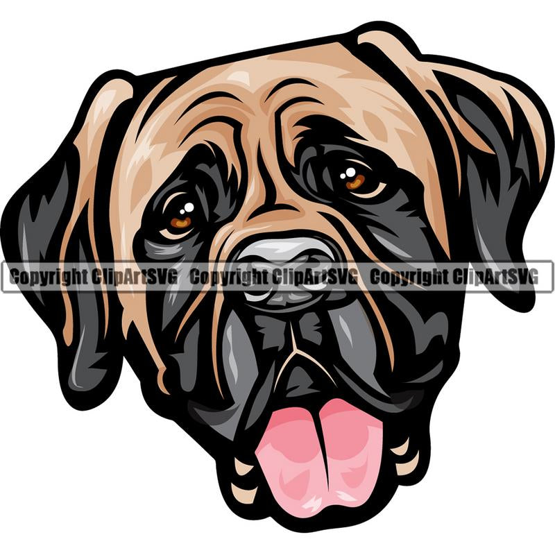 Mastiff Dog Breed Head Color ClipArt SVG