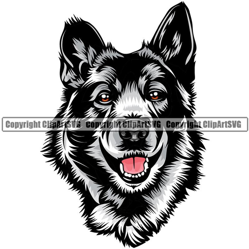 Norwegian Elkhound Dog Breed Head Color ClipArt SVG