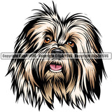Old English Sheepdog Dog Breed Head Color ClipArt SVG