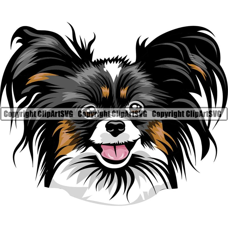 Papillion Dog Breed Head Color ClipArt SVG