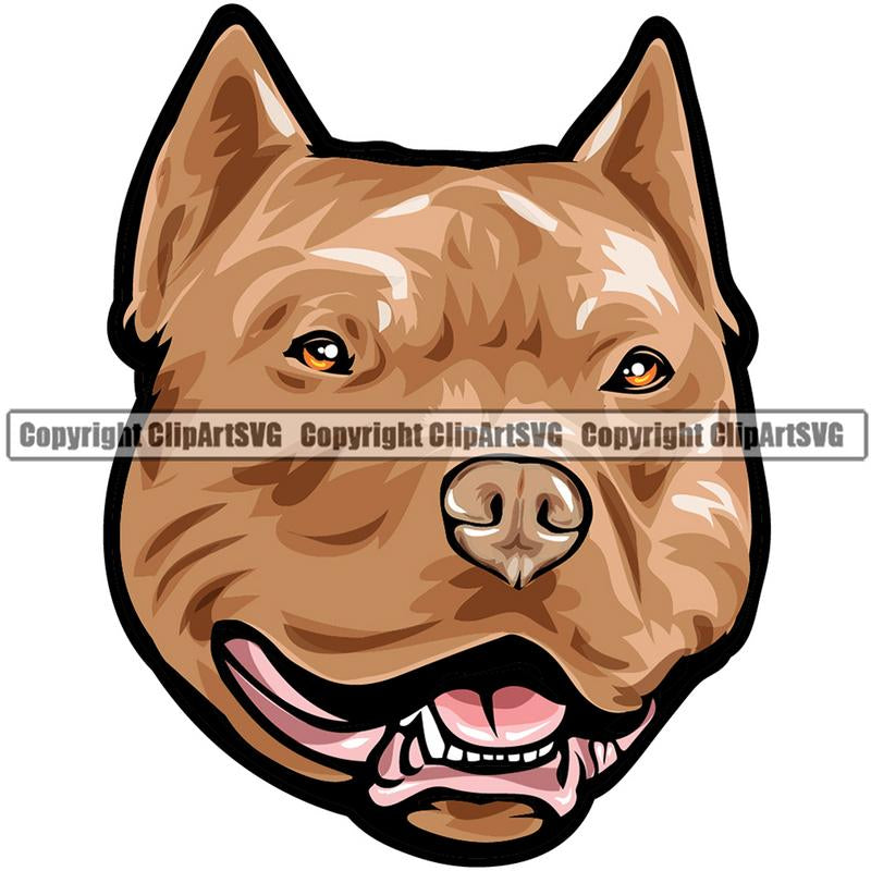 Pit Bull Terrier Dog Breed Head Color ClipArt SVG