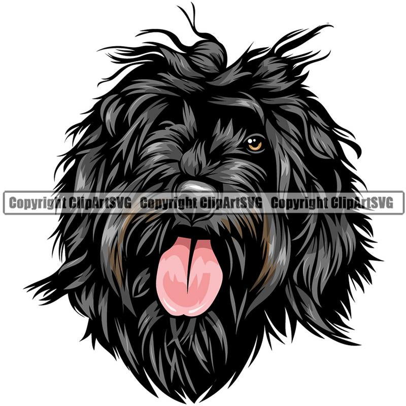 Portuguese Water Dog Dog Breed Head Color ClipArt SVG
