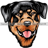 Rottweiler Dog Breed Head Color ClipArt SVG