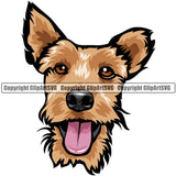 Welsh Terrier Dog Breed Head Color ClipArt SVG
