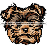 Yorkshire Terrier Yorkie Dog Breed Head Color ClipArt SVG