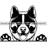 Akita Peeking Dog Breed ClipArt SVG