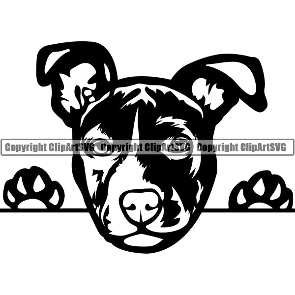 American Staffordshire Terrier Peeking Dog Breed ClipArt SVG
