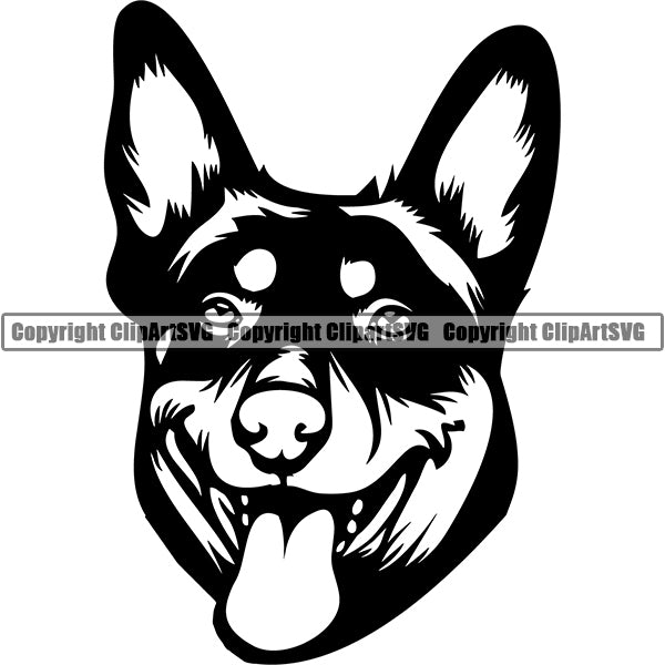 Australian Kelpie Dog Breed Head Face ClipArt SVG