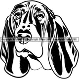 Basset Hound Dog Breed Head Face ClipArt SVG