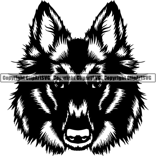 Belgian Shepherd Dog Breed Head Face ClipArt SVG