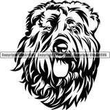 Bouvier Des Flandres Dog Breed Head Face ClipArt SVG