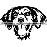 Brittany Spaniel Dog Breed Head Face ClipArt SVG