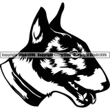 Bull Terrier Dog Breed Head Face ClipArt SVG
