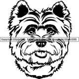 Caine Terrier Dog Breed Head Face ClipArt SVG