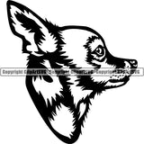 Chihuahua Dog Breed Head Face ClipArt SVG