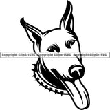 Doberman Dog Breed Head Face ClipArt SVG