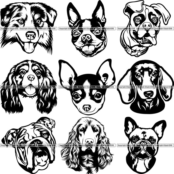 27 Dog Breed Head Face Top Selling Designs SUPER BUNDLE ClipArt SVG