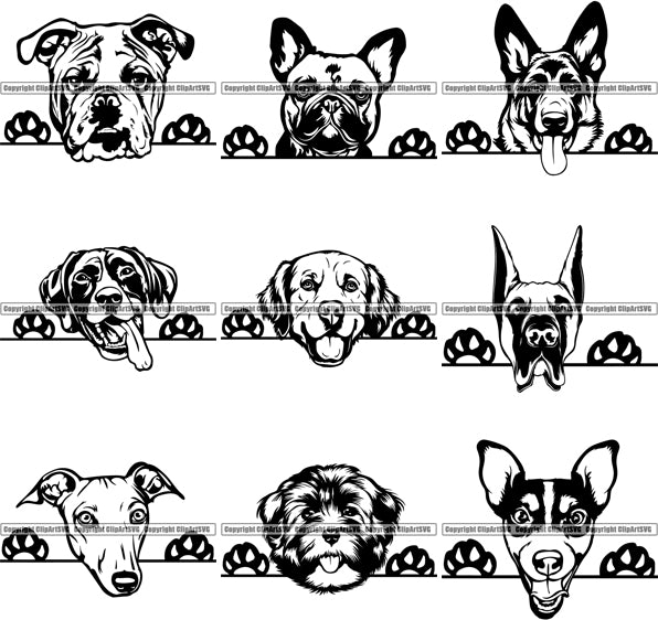 27 WORLD FAMOUS PEEKING DOG Breed Top Selling Designs SUPER BUNDLE ClipArt SVG