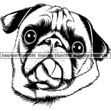 Pug Dog Breed Head Face ClipArt SVG