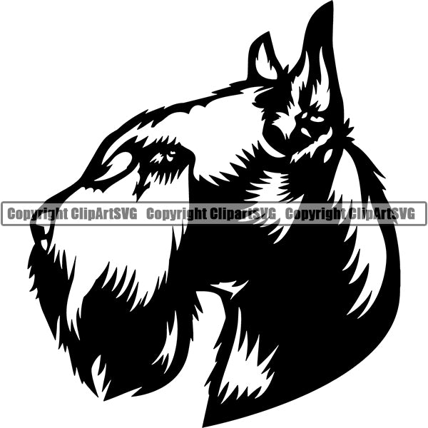 Schnauzer Giant Dog Breed Head Face ClipArt SVG