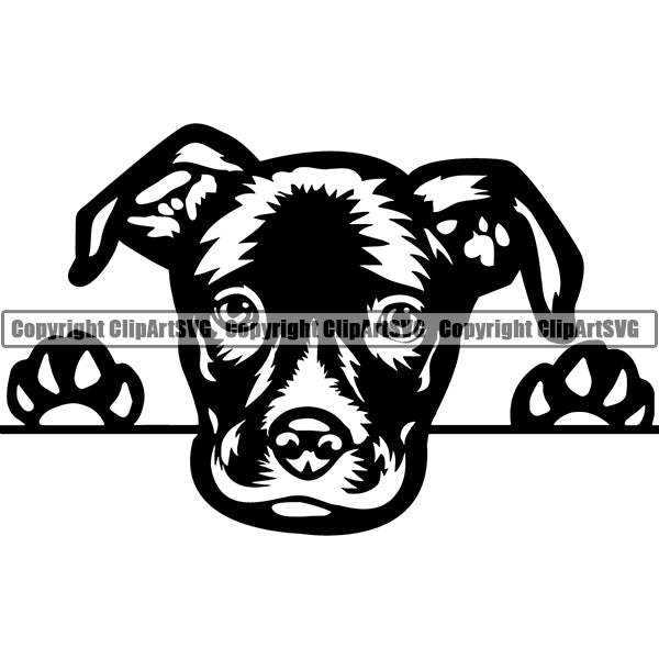 Staffordshire Terrier Peeking Dog Breed ClipArt SVG