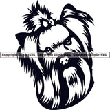 Yorkshire Terrier Dog Breed Head Face ClipArt SVG