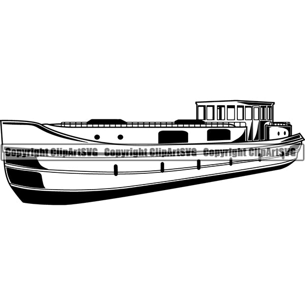 Boat Ship Water Travel River ClipArt SVG