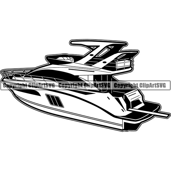 Boat Ship Water Travel Yacht ClipArt SVG