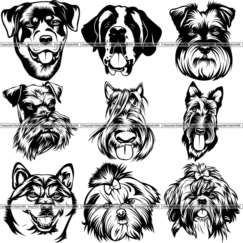 100 DOG BREED HEADS Black/White Designs Volume 02 BUNDLE OF THE CENTURY RETAIL PRICE $300.00!