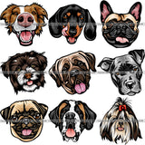 9 Dog Breed Head Face Top Selling Color Designs BUNDLE ClipArt SVG