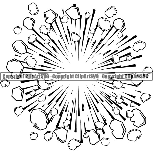 Design Element Callout Explosion Explode Speed Lines Action Motion Comic Book ClipArt SVG