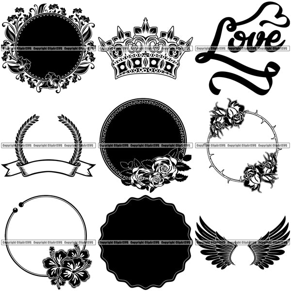 9 Design Element Best Selling Designs Crowns Wings Flowers Banners Ribbons BUNDLE ClipArt SVG