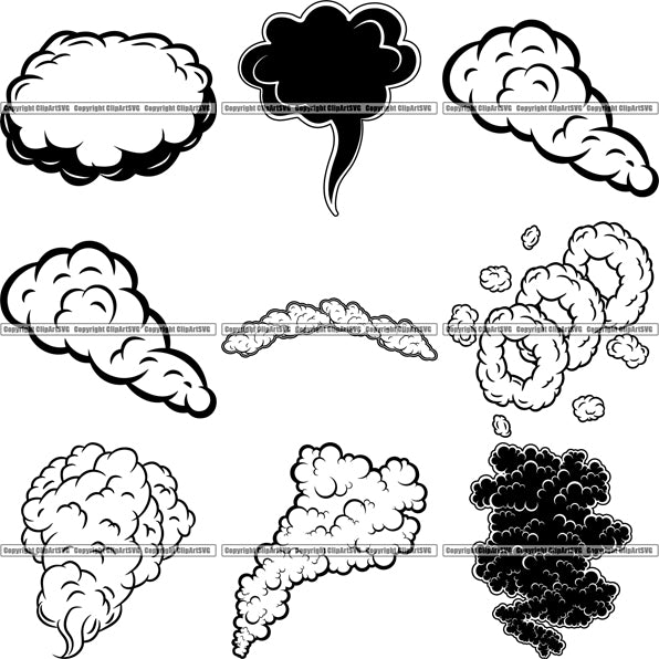 9 Smoke Clouds Design Elements Fire Weather BUNDLE ClipArt SVG