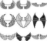 9 Animal Angel Wings Design Elements Loved One Death BUNDLE ClipArt SVG