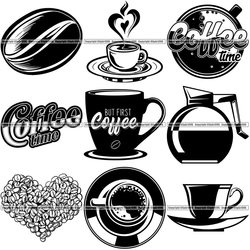 9 Coffee Cafe Espresso Cappuccino Drink Designs Top Selling Cup Pot Bean Logo BUNDLE ClipArt SVG