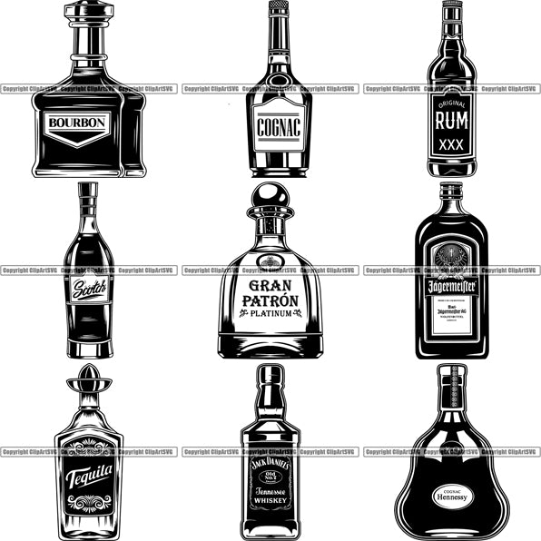 9 Liquor Bottle Top Selling Designs Whiskey Run Tequila BUNDLE ClipArt SVG