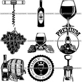 9 Wine Alcohol Drink Drinking Tasting Design Elements BUNDLE ClipArt SVG