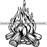 Camping Hiking Mountain Climbing Camp Fire Logo Clipart SVG