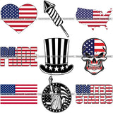 9 Fourth 4th Of July USA United States Flag America American BUNDLE ClipArt SVG