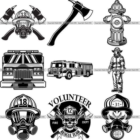9 Firefighter Top Selling Designs Firefighting Fireman Rescue BUNDLE ClipArt SVG