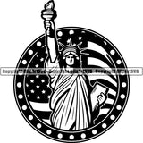 Holiday 4th Of July Statue Of Liberty Government Flag ClipArt SVG