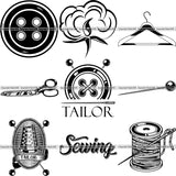 9 Tailor Seamstress Alterations Sew Sewing Clothes Fashion BUNDLE ClipArt SVG