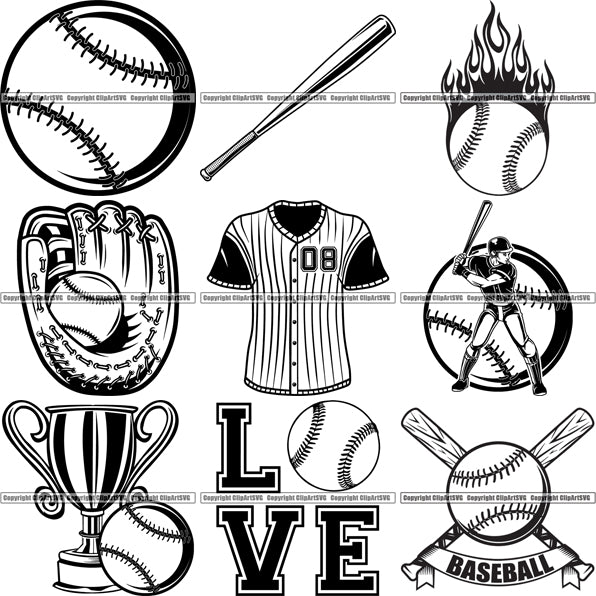 9 Baseball Top Selling Designs Sports Game Ball Bat Glove BUNDLE ClipArt SVG