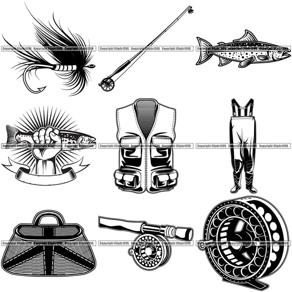 9 Fly Fishing Design Elements Sport Game Fish Fisherman Tournament BUNDLE ClipArt SVG