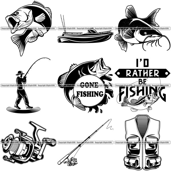 9 Fishing Design Elements Sport Game Fish Fisherman Tournament BUNDLE ClipArt SVG