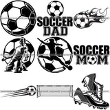 9 Soccer Design Elements School Sport Game Women Men Boys Girls BUNDLE ClipArt SVG