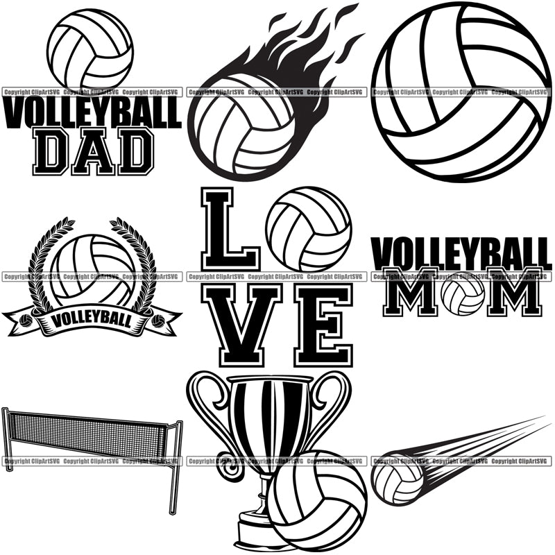 9 Volleyball Top Selling Designs Sports Game Ball Net Trophy Logo BUNDLE ClipArt SVG