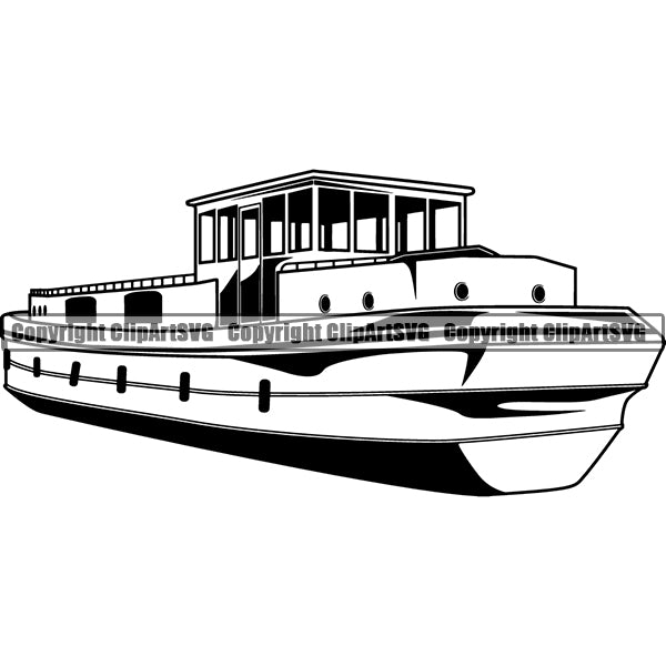 Transportation Boat River ClipArt SVG