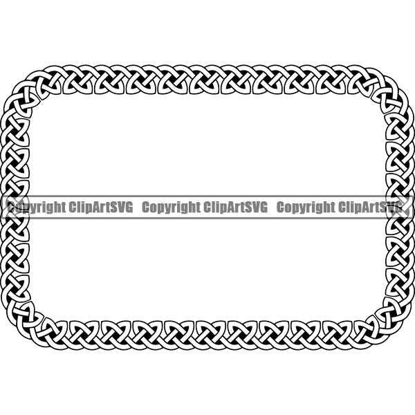 Viking Celtic Frame Border Design Element Rectangle ClipArt SVG