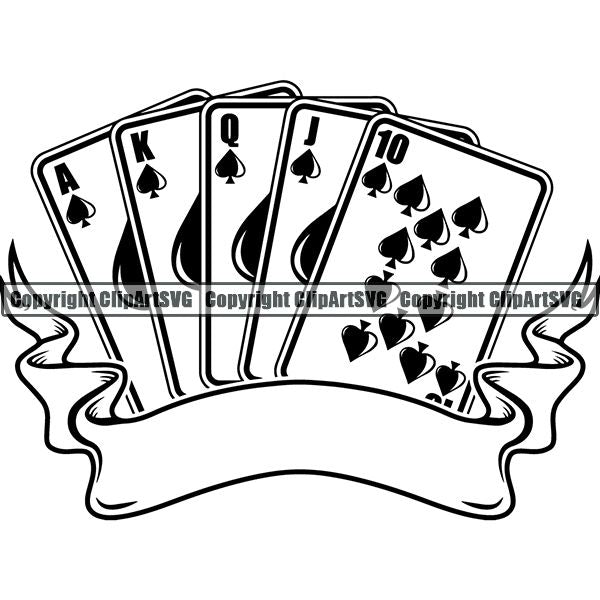 Game Poker Card Royal Flush Arc Ribbon ClipArt SVG
